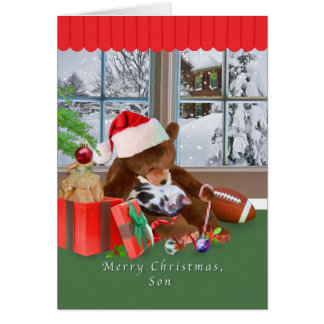 Christmas, Son, Cat, Teddy Bear Greeting Card