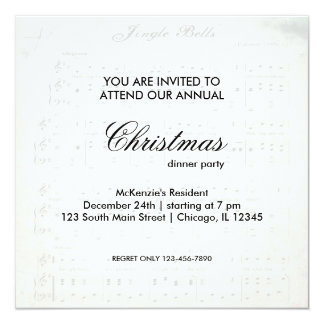 Christmas Song 13 Cm X 13 Cm Square Invitation Card