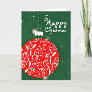 Christmas sparkle large bauble red/green card card