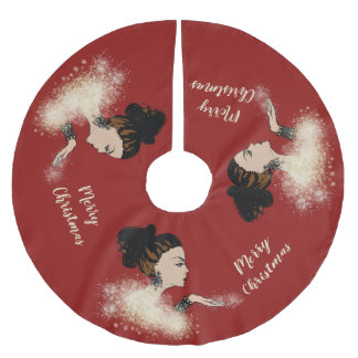 christmas sparkling fashion illustration brushed polyester tree skirt