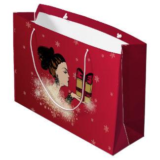 christmas sparkling fashion illustration large gift bag