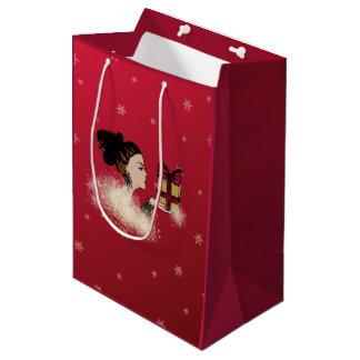 christmas sparkling fashion illustration medium gift bag