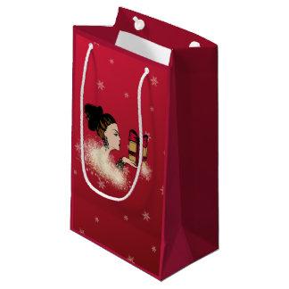 christmas sparkling fashion illustration small gift bag