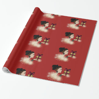 christmas sparkling fashion illustration wrapping paper