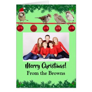 Christmas Sparrow Personalized Card