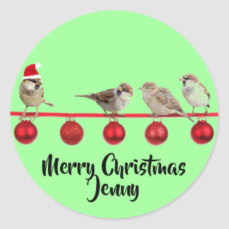 Christmas Sparrow Personalized Classic Round Sticker