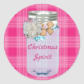 Christmas Spirit Pink Plaid Mason Jar Stickers