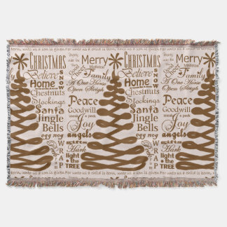 Christmas Spirits Abstract Tree W/Text Calligraphy Throw
