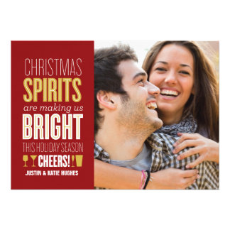 Christmas Spirits Holiday Photo Card Personalized Invites