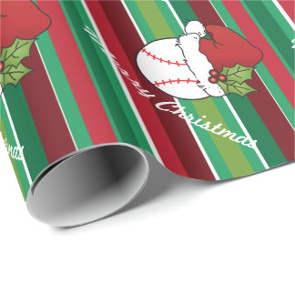 Christmas Sport Baseball Stripes Wrapping Paper