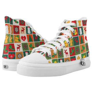 Christmas Square Print designs High Top Shoes