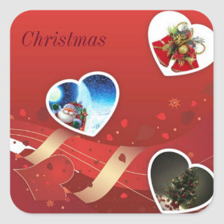 Christmas Square Stickers, Glossy