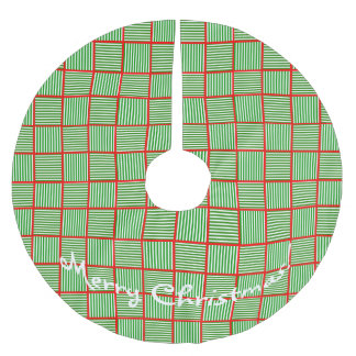 Christmas Squares Green n Red Brushed Polyester Tree Skirt