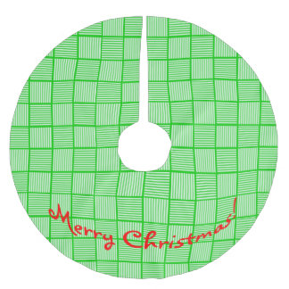 Christmas Squares Green n White Brushed Polyester Tree Skirt