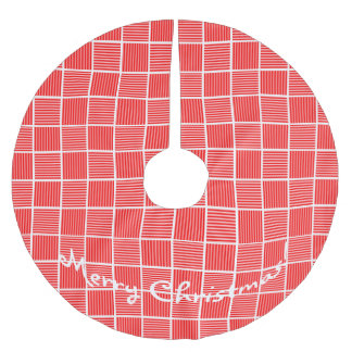 Christmas Squares Red n White Brushed Polyester Tree Skirt