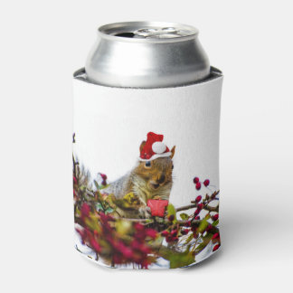 Christmas Squirrel Can Cooler