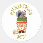 Christmas Squirrel Classic Round Sticker