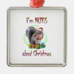 Christmas Squirrel Silver-Colored Square Decoration