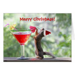 Christmas Squirrel Drinking a Cocktail Cards