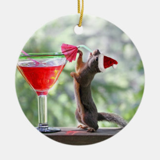 Christmas Squirrel Drinking a Cocktail Ceramic Ornament