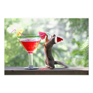 Christmas Squirrel Drinking a Cocktail Photo