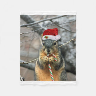 Christmas squirrel fleece blanket