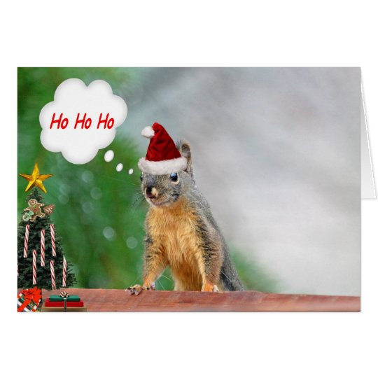 Christmas Squirrel Saying Ho Ho Ho Card