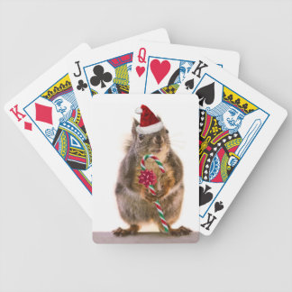 Christmas Squirrel with Candy Cane Bicycle Playing Cards