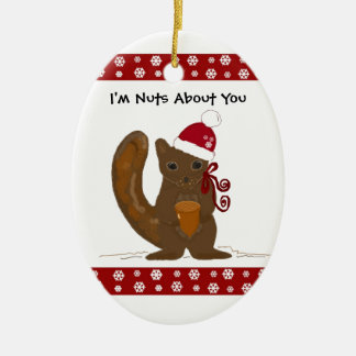 Christmas Squirrel with Cute Saying Ceramic Ornament