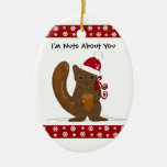 Christmas Squirrel with Cute Saying Ceramic Oval Decoration