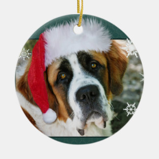 Christmas St. Bernard Dog Photo Round Ceramic Decoration