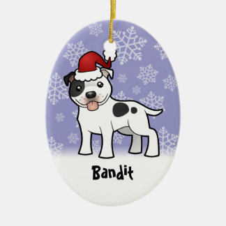Christmas Staffordshire Bull Terrier (add name) Ceramic Ornament
