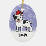 Christmas Staffordshire Bull Terrier (add name) Ornament