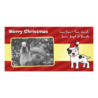 Christmas Staffordshire Bull Terrier Custom Photo Card