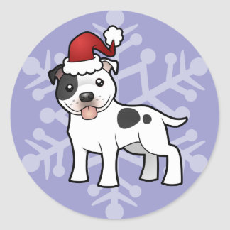 Christmas Staffordshire Bull Terrier Round Sticker