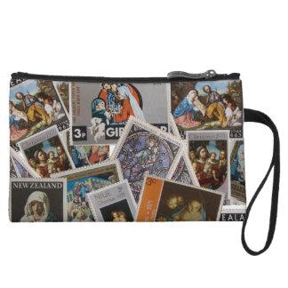 Christmas Stamps Bagettes Bag Wristlet