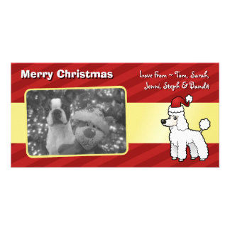 Christmas Standard/Miniature/Toy Poodle puppy cut Custom Photo Card