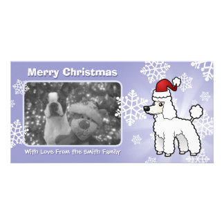 Christmas Standard/Miniature/Toy Poodle puppy cut Customised Photo Card