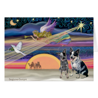 Christmas Star - Australian Cattle Dogs two Greeting Cards
