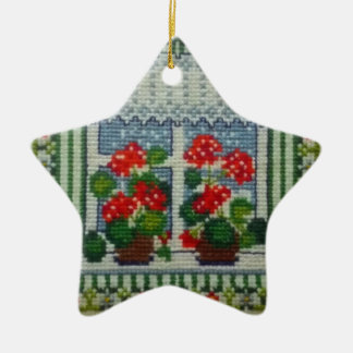 Christmas star embroidered window c flowers ceramic ornament