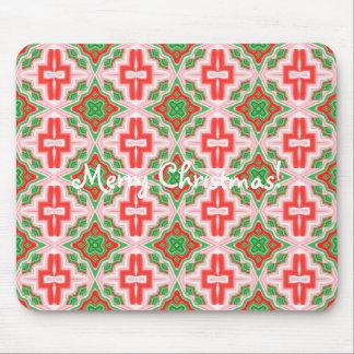 Christmas Star Kaleidoscope Tiled Mouse Pad