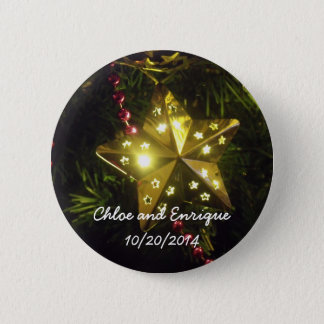 Christmas Star Personalised Holiday Wedding Button