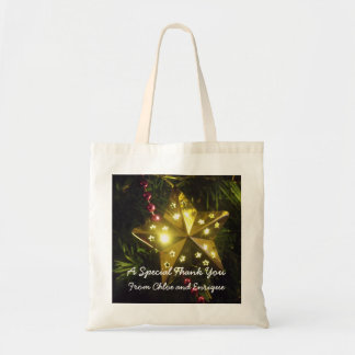 Christmas Star Personalized Holiday Wedding Budget Tote Bag