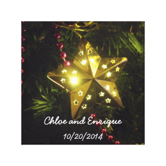 Christmas Star Personalized Holiday Wedding Stretched Canvas Print