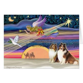 Christmas Star - Shetland Sheepdogs (2 Sable) Card