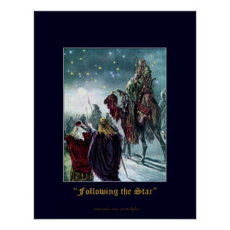 CHRISTMAS STAR Traditional Vintage Poster