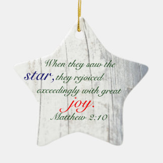 Christmas Star with Bible Verse and Driftwood Double-Sided Star Ceramic Christmas Ornament