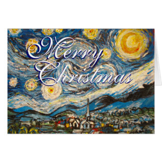 Christmas Starry Night Vincent Van Gogh repainted Greeting Card