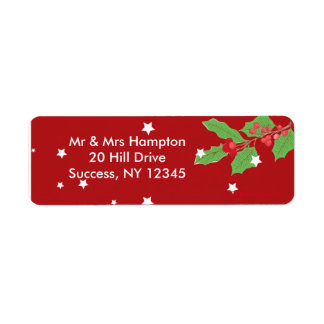 Christmas Stars and Holly Return Address Label