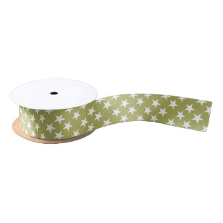 Christmas stars green and white satin ribbon